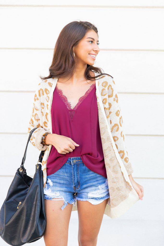 cardigan, white, leopard print cardigan, long sleeves