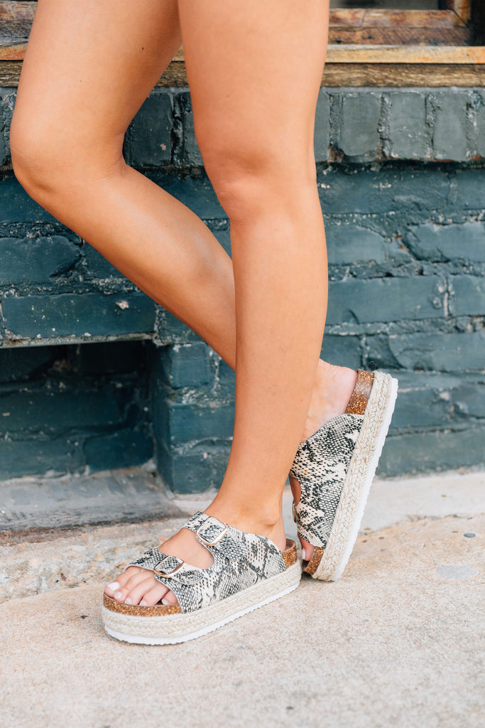 shoes, sandals, platform, platform sandals, snakeskin, snakeskin sandals, black, white, black and white, trendy, comfy, summer sandals, fall sandals, beach sandals, vacation, concert