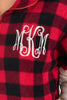 buffalo plaid print, long sleeves, round neckline, a kangaroo pocket, solid bottom