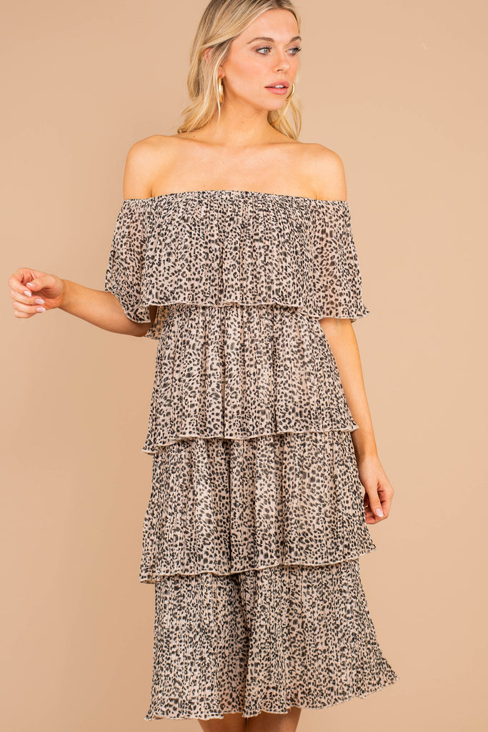 I'll Show You How Taupe Leopard Midi Dress