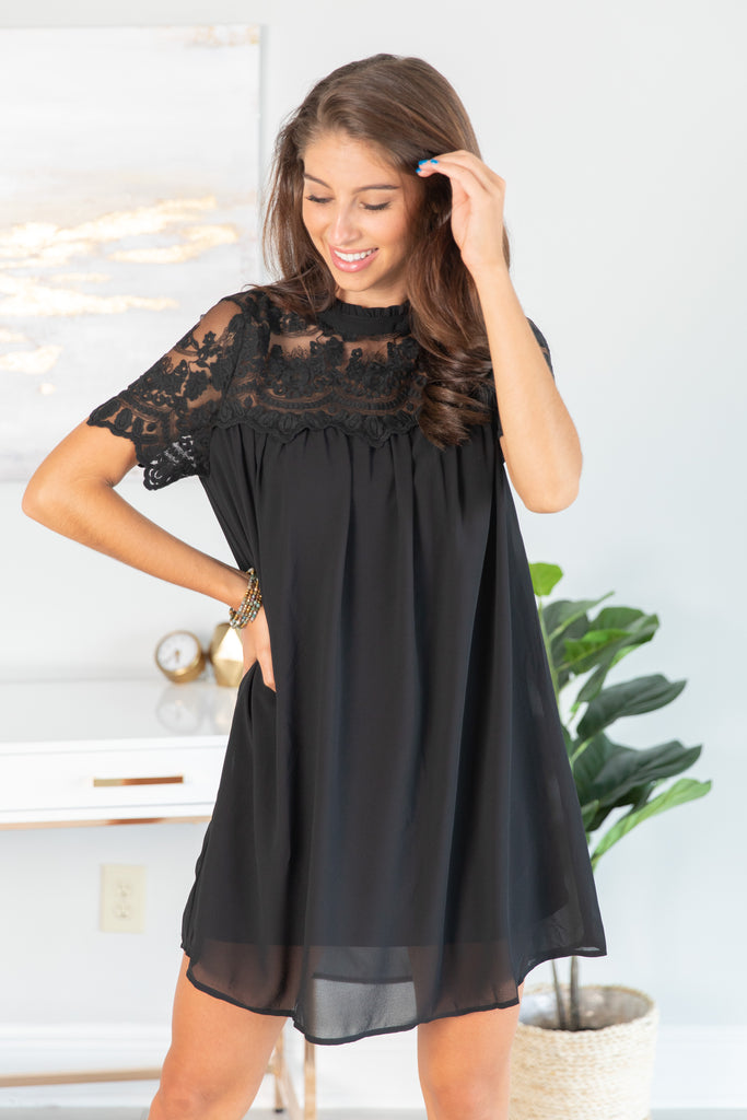 dress. short sleeve dress, little black dress, short sleeve little black dress, short sleeve little black dress with lace, short sleeve dress with lace, floral lace, short sleeve black dress with floral lace, black lace, black floral lace,