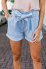 Take My Breath Away Light Denim Blue Paperbag Shorts