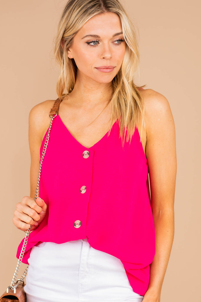 fuchsia, pink button tank, tank, light fabric, button details, classic fit, spaghetti straps