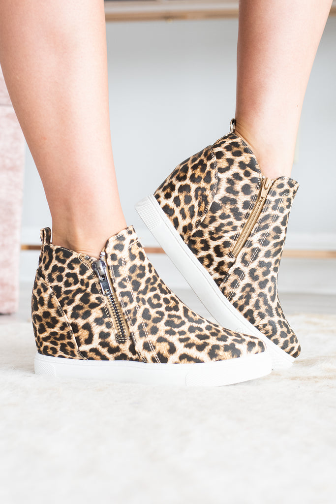 Catch Me If You Can Brown Leopard Wedge Sneakers