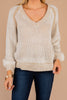 sweater, knit fabric, warm, cozy, short cut, v-neck, long sleeves,