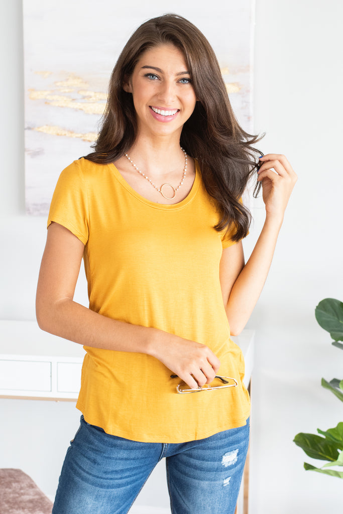 Arms Wide Open Mustard Yellow Top