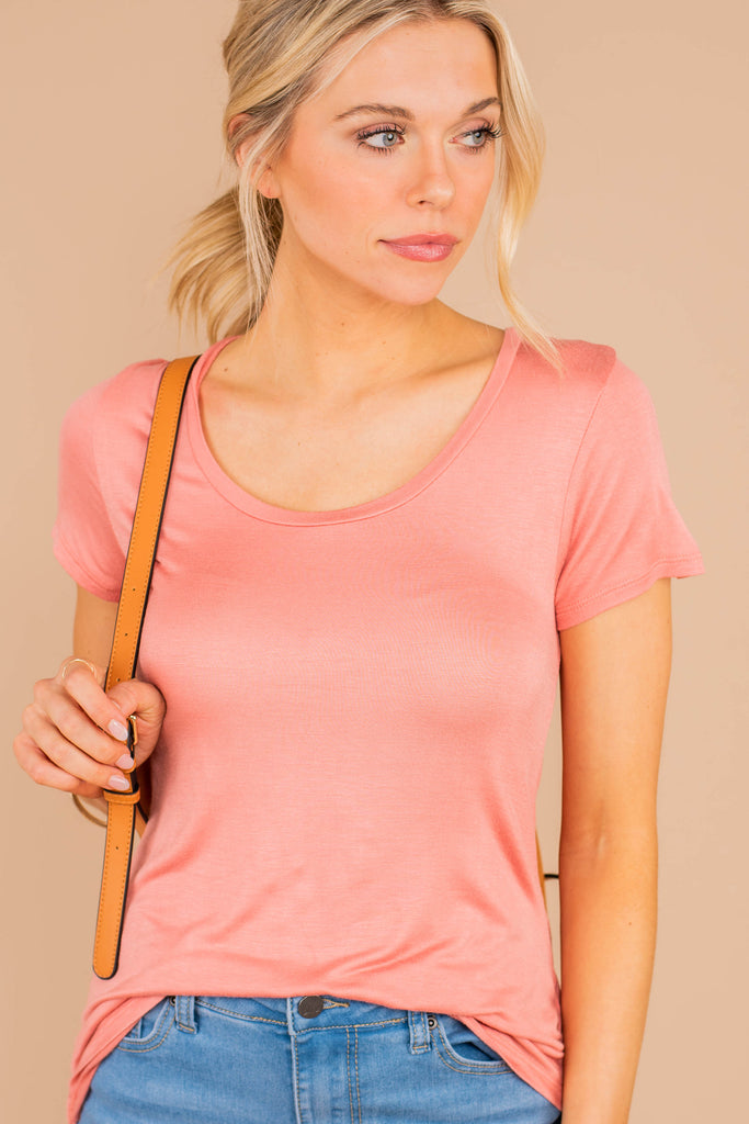 top, soft stretch fabric, round neckline short sleeves, tee, casual