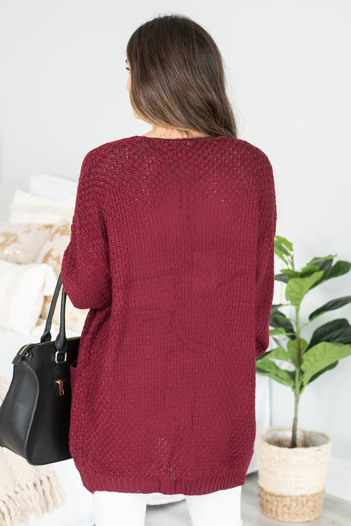 Somebody To Love Burgundy Red Cable Knit Cardigan - Somebody To Love  Burgundy Red Cable Knit Cardigan