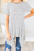 top, short sleeve, short sleeve top, stripes, striped top, black, white, black and white stripes, flowy, casual, casual top, tunic, striped tunic, summer, summer top, fall, fall top, conservative, everyday, shopping, work