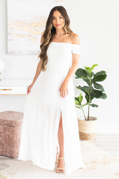 9b8e43ca51 Waiting For The Day Maxi Dress, White