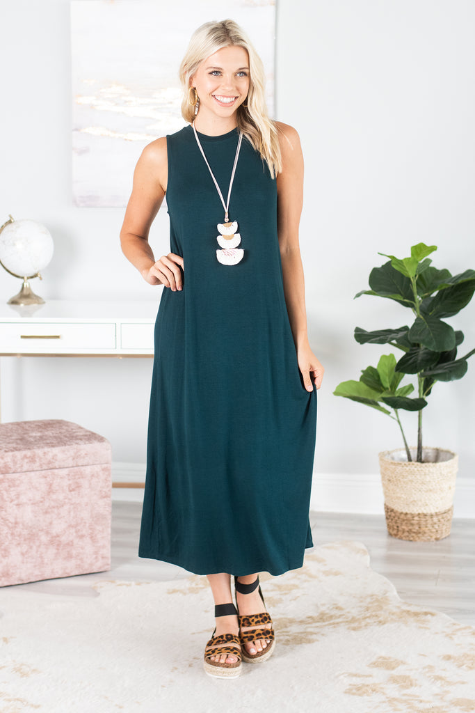 It's All For You Midi Dress, Forest Green