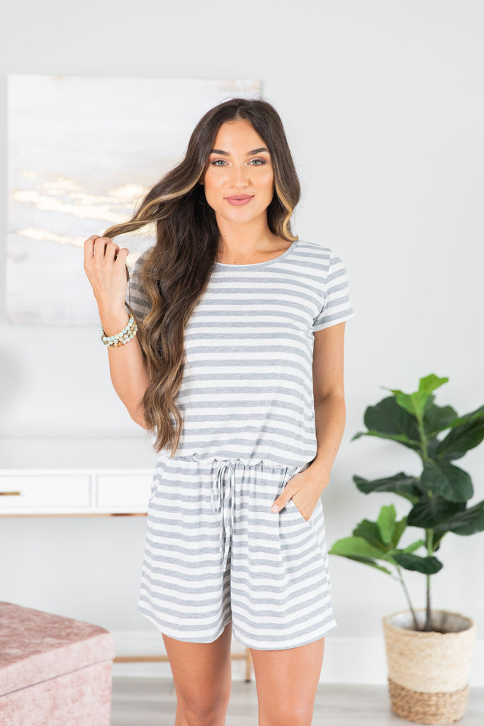 Take All The Time Light Gray Striped Romper