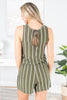 Break The Mold Olive Green Striped Romper