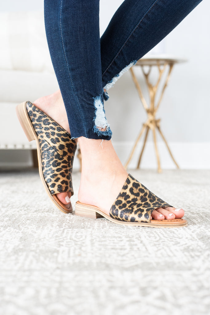 See What's Out There Brown Leopard Flat Mules