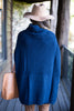 fall, winter, poncho, cozy, knit fabric, turtleneck, chic, toasty, solid coloring, blue, blue poncho, blue turtleneck