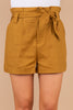 paperbag waist, pleats, gold shorts, shorts, tied front