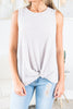 Simple And Easy Misty Pink Knotted Tank