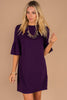 purple dress, dress, round neckline, peplum short sleeves, shift fit, classic, feminine, chic dress
