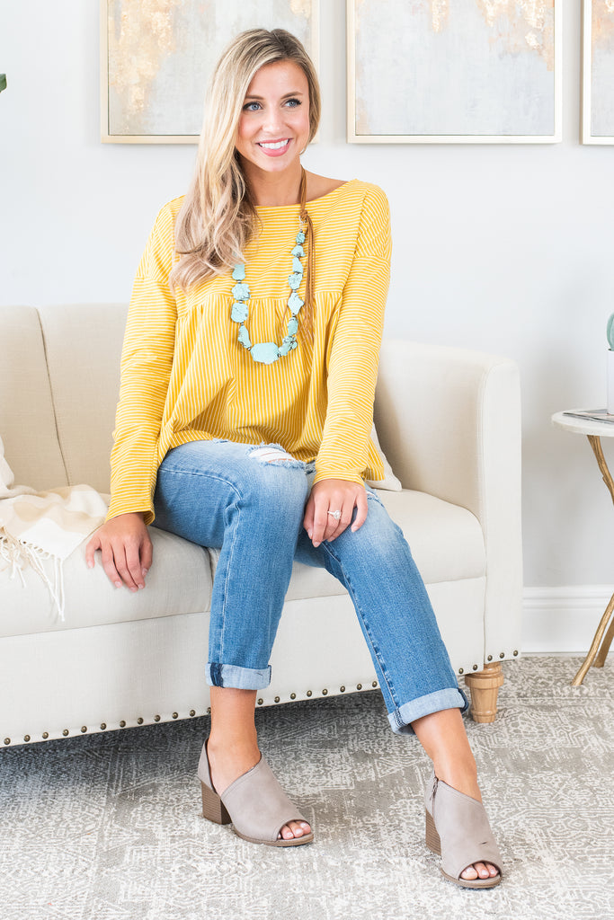 top, long sleeve, long sleeve top, solid, solid top, yellow, yellow top, stripes, striped top, summer, summer top, fall, fall top, conservative, shopping, everyday, easy to style, casual, casual top