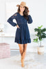dress, long sleeve, long sleeve dress, solid, solid dress, navy, navy dress, lace, lace details, lace dress, elegant, elegant details, elegant dress, classy dress, summer, summer dress, fall, fall dress, transitinional dress, party dress, cocktail dress, date night, night out, mid thigh, mid thigh dress