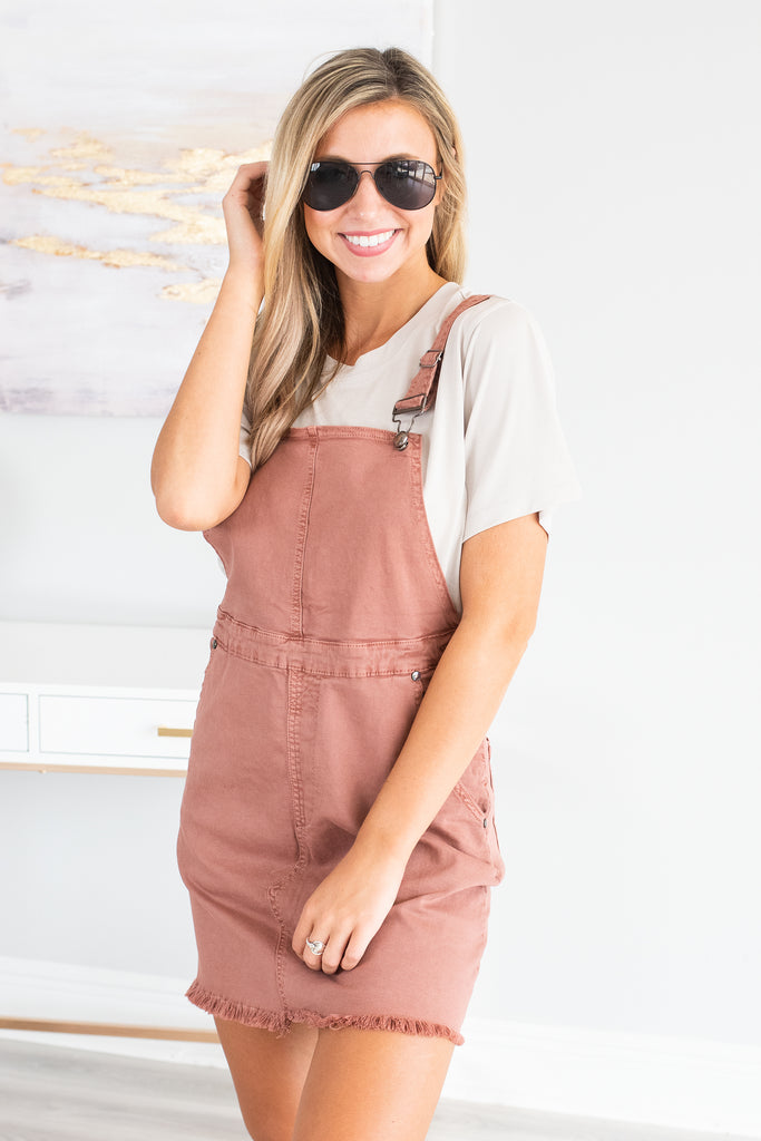dress, overall dress, solid, solid overall dress, orange, orange overall dress, summer, summer dress, fall, fall dress, easy to style, transitional, trendy, comfy, casual, casual dress, everyday, shopping