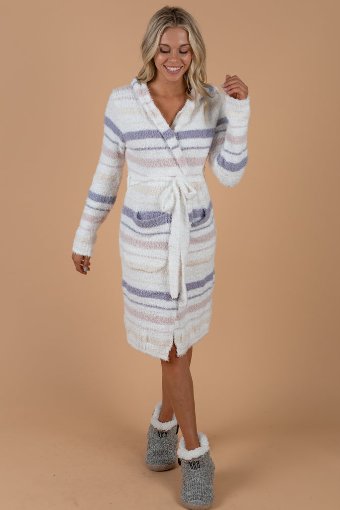 Wonderful Winter Robe, White-Periwinkle