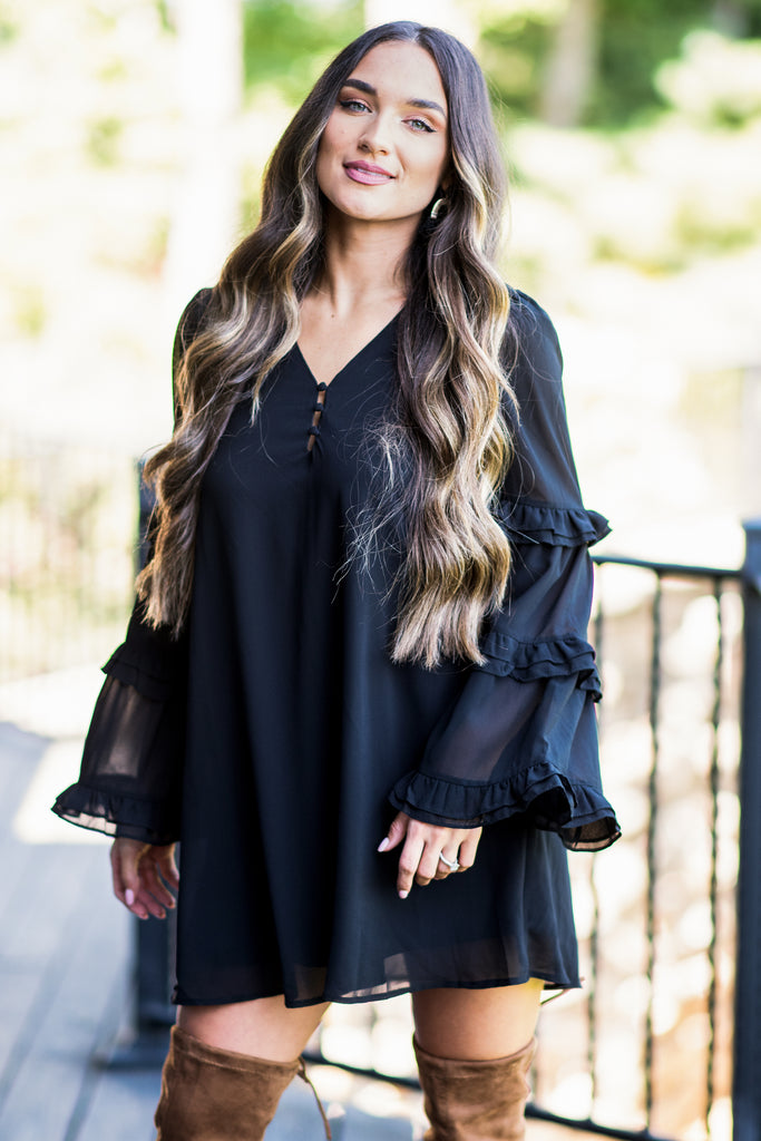 fall, dress, fall dress, ruffles, ruffled dress, long sleeves, long sleeve dress, full lining, partially buttoned v neck, no stretch, black, black dress, black long sleeve dress