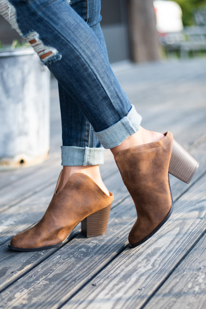 There For You Camel Brown Mule Booties