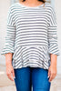 stripes, brown, ruffles, bell sleeve, round neckline, oatmeal top, striped top