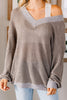 brown sweater, brown v neck sweater, brown top, top, v neck top, brown v neck top, casual top, generous fitting top,