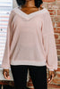 sweater, long sleeve, top, long sleeve sweater, v neck, v neck sweater, waffle sweater, pink, pink sweater, pink waffle sweater, long sleeve pink sweater, fall sweater