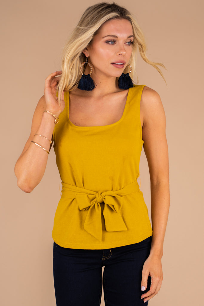 tank, low back, layering tank, mustard, yellow, tied waist, low back, square neckline