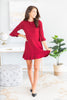 Always So Peppy Fall Ruby Red Ruffled Dress