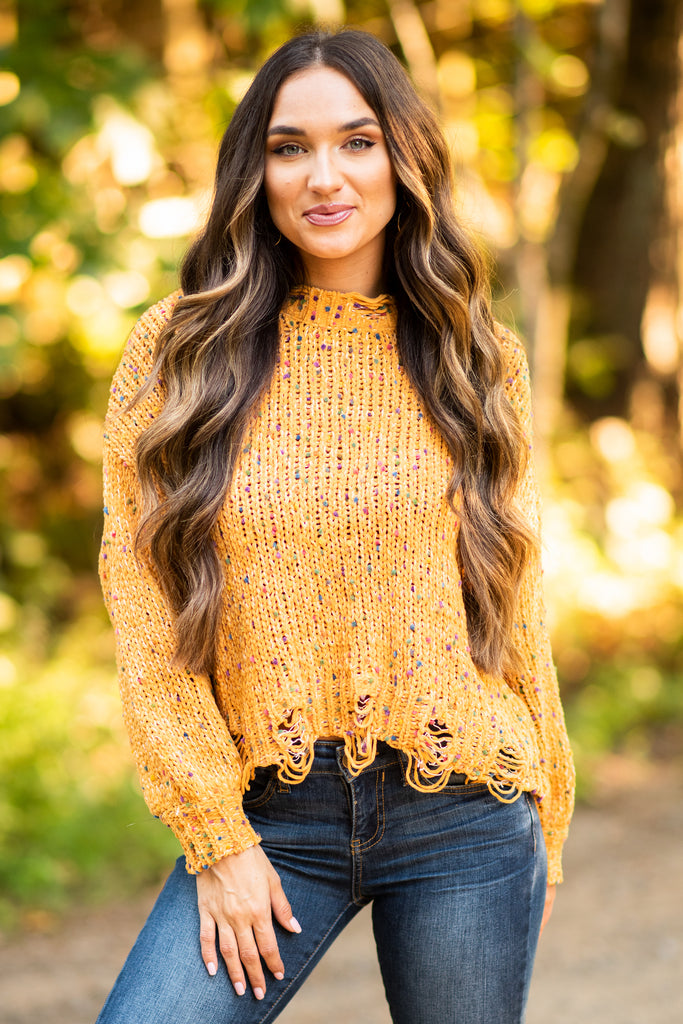 fall, sweater, fall sweater, winter, confetti sweater, trendy, round neckline, long sleeves, confetti knit fabric, distressed detailing, mustard, mustard sweater