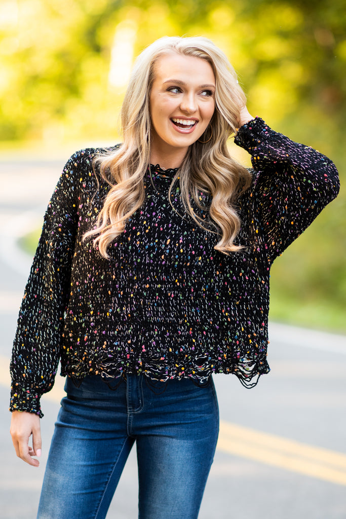fall, sweater, fall sweater, winter, confetti sweater, trendy, round neckline, long sleeves, confetti knit fabric, distressed detailing, black, black sweater