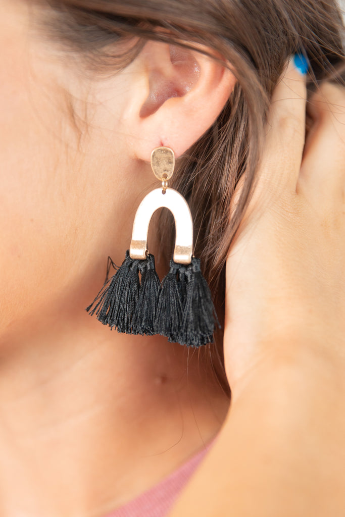 earrings, accessories, jewelry, dangle earrings, tassel earrings, dangle tassel earrings, black tassel earrings, black tassel dangle earrings, gold dangle earrings with black tassels, gold dangle tassel earrings, statement earrings, black statement earrings, gold statement earrings, black tassel accessories, gold accessories
