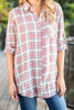 top, long sleeve top, button down top, long sleeve button down top, multicolored plaid button down long sleeve top, red multicolored plaid top, red multicolored plaid button down long sleeve top, button down top with chest pocket, plaid top with chest pocket,