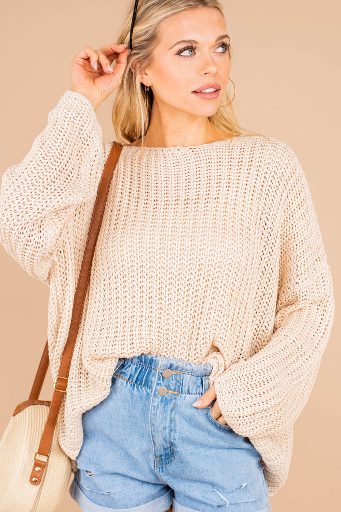 loose knit sweater, sweater, generous fit, wide round neckline, loose knit fabric, long sleeves, comfy, sweater