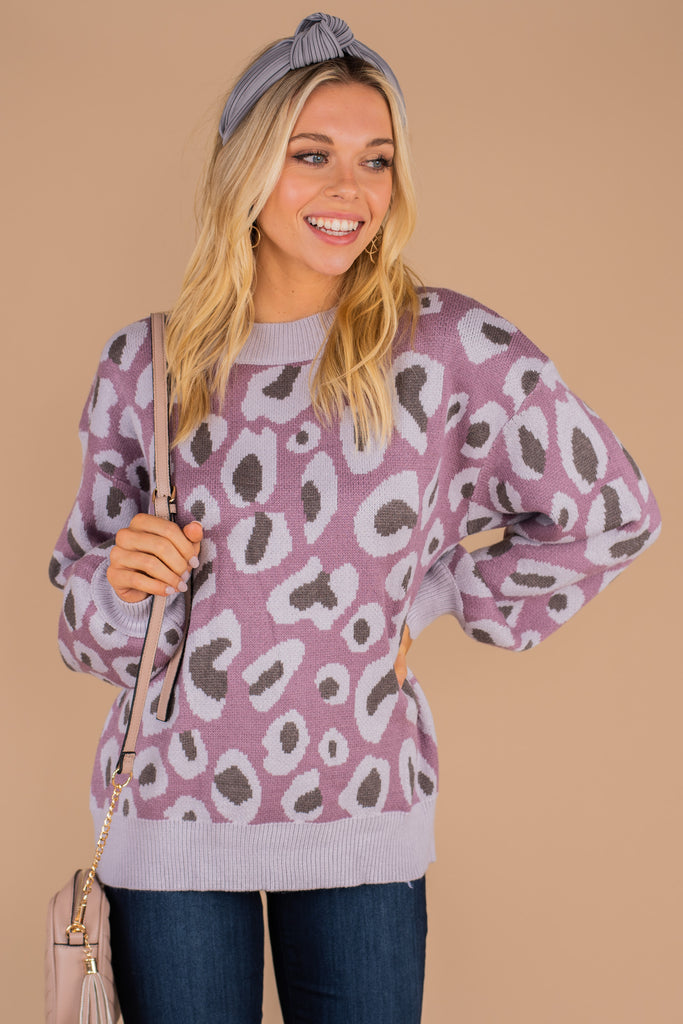 purple sweater, fall, winter, cozy, cute, bold leopard print, long sleeves bubble sleeves, round neckline, knit fabric