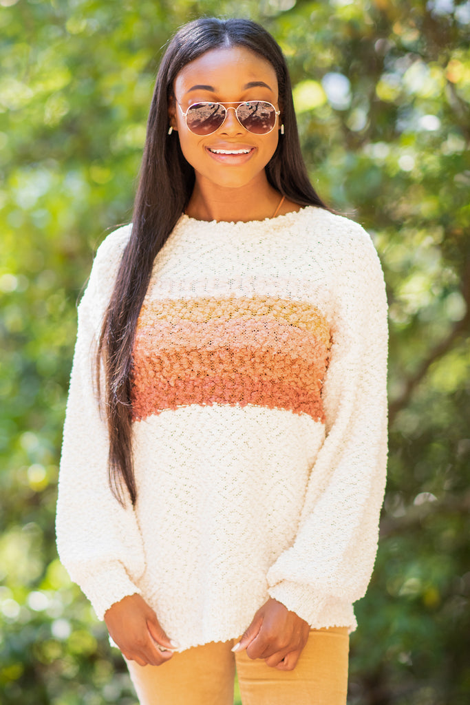 sweater, fall, fabulous, trendy, round neckline, long sleeves, long sleeve sweater, stripes, popcorn knit fabric, orange, orange sweater,