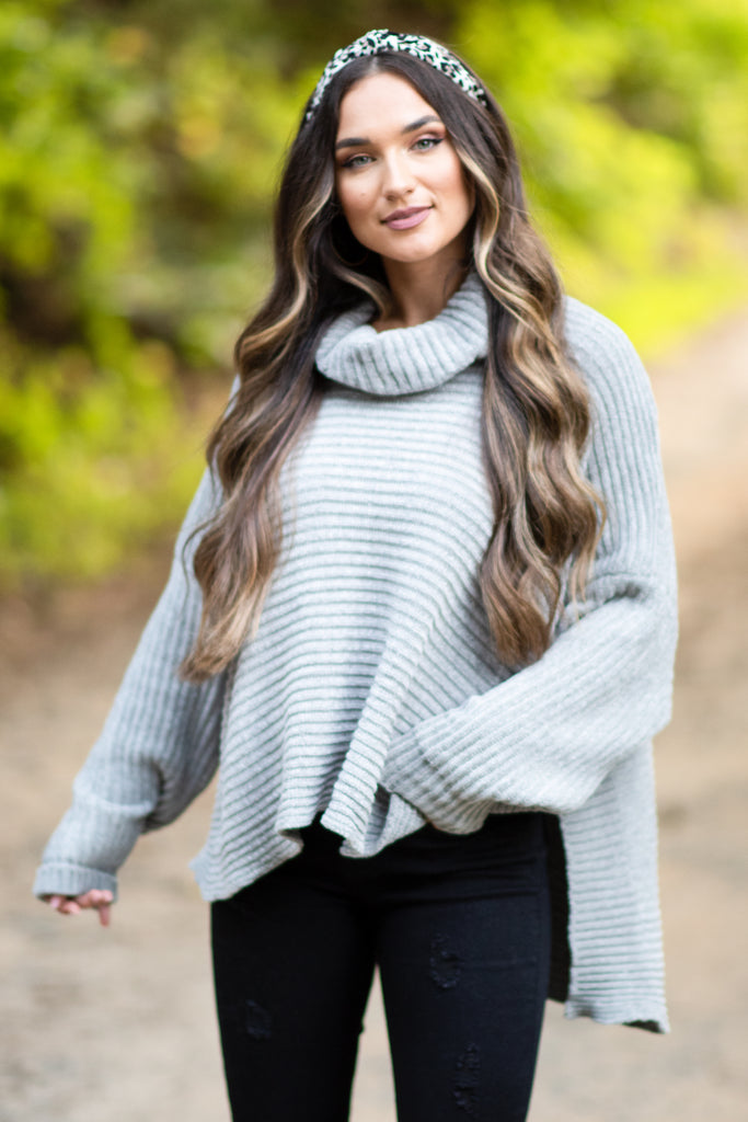 fall, sweater, fabulous, chic, soft, warm, cowl neck, chenille fabric, long sleeves, long sleeve sweater, oversize fit, generous stretch, gray, gray sweater