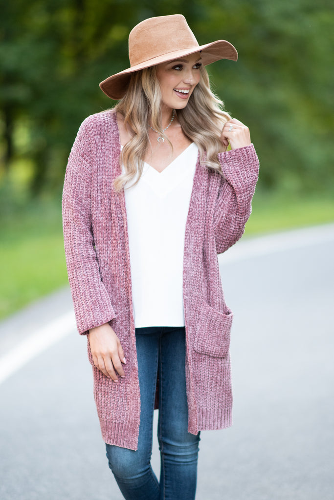 fall, cardigan, fall cardigan, cozy, warm, soft, pockets, cardigan with pockets, long sleeves, long sleeve cardigan, chenille fabric, classic cut, generous stretch, red, red cardigan