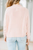 pink sweater, high round neckline, cable knit fabric, long sleeves, feminine, cozy, sweater