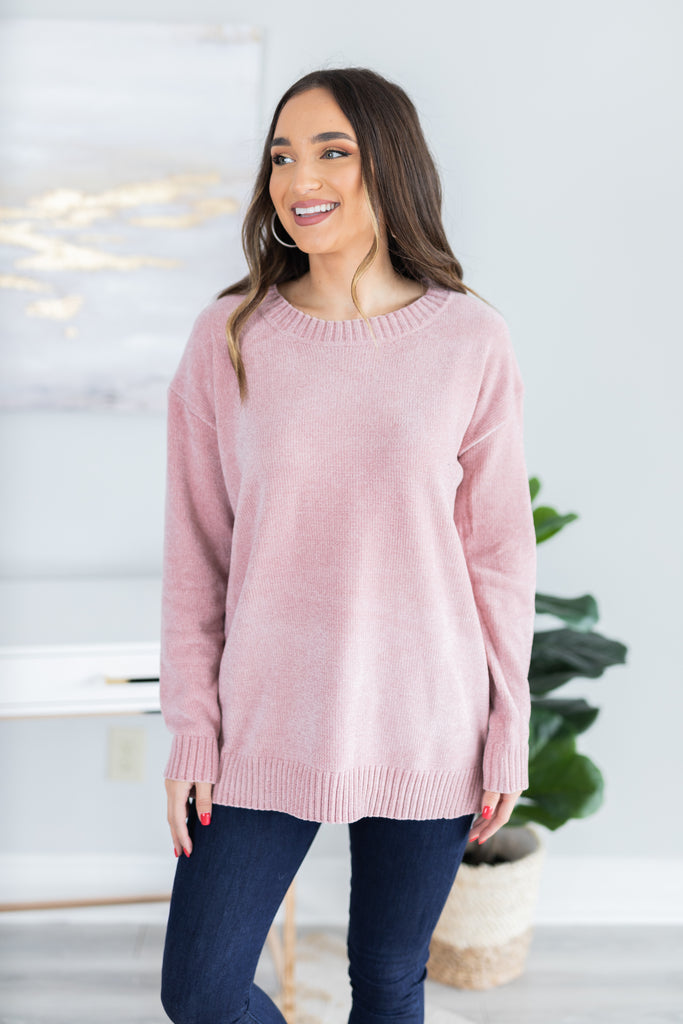 fall, sweater, winter, winter sweater, fall sweater, classic, cozy, soft, long sleeves, round neckline, chenille fabric, generous stretch, pink, pink sweater