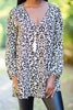 top, tunic, long sltunic, long sleeve v neck tunic, leopard print tunic, long sleeve v neck leopard print tunic, brown leopard print long sleeve v neck tunic, brown multicolored leopard print long sleeve v neck tunic, generous fitting tunic,