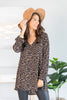 top, long sleeve top, tunic, long sleeve tunic, long sleeve v neck tunic, leopard print long sleeve v neck tunic, brown leopard print tunic, taupe leopard print long sleeve v neck tunic, brown and black leopard print long sleeve v neck tunic, generous fitting tunic,