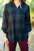 fall, plaid, top, plaid top, comfy, stretchy, bold plaid print, v neck, 3/4 tabbed sleeves, generous stretch, blue, blue plaid, blue plaid top