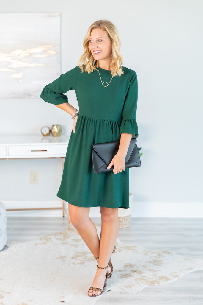 dress, long sleeve dress, 3/4 sleeve dress, peplum dress, long sleeve peplum dress, 3/4 sleeve peplum dress, green dress, long sleeve green dress, 3/4 sleeve green dress, green long sleeve peplum dress, 3/4 sleeve green peplum dress, peplum sleeves, green dress with peplum sleeves, holiday dress, party dress, summer dress, fall dress, conservative dress, trendy, solid dress, solid, flowy dress, neutral, neutral dress,