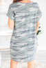 dress, casual dress, shift dress, v neck dress, v neck, short sleeve dress, t-shirt dress, loose dress, camo dress, camouflage dress, green dress,camo t-shirt dress