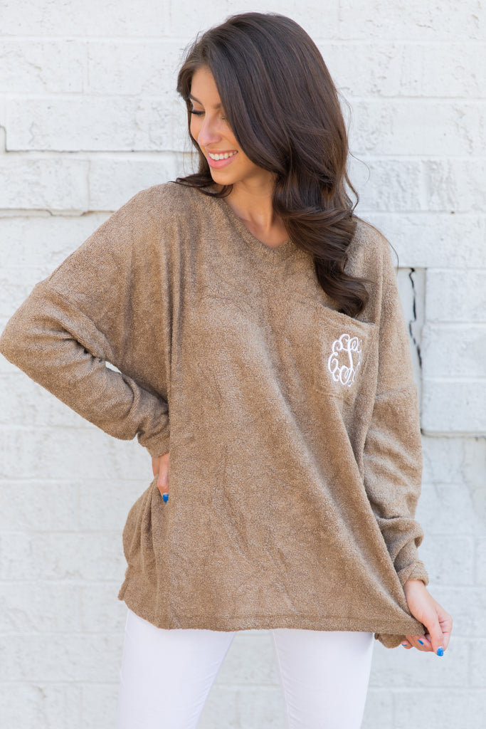 sweater, fall sweater, cozy, cozy sweater, roomy, roomy sweater, terry cloth, terry cloth sweater, textured sweater, light sweater, pocket, pocket sweater, long sleeve, long sleeve sweater, v neck, v neck sweater, stretchy, strechy sweater, monogram, monogram sweater, top, fall tops, brown top, brown sweater, casual top, casual sweater